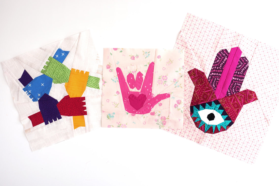 holding hands quilt block pattern, I love you hand sign quilt block pattern, hamsa quilt block pattern